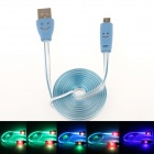 Smiling Face Micro USB Male to USB 2.0 Male Data Sync / Charging Cable - Blue (95cm)