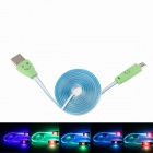 Smiling Face Micro USB Male to USB 2.0 Male Data Sync / Charging Cable - Blue + Green (95cm)