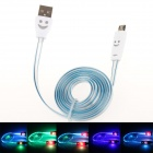 Smiling Face Micro USB Male to USB 2.0 Male Data Sync / Charging Cable - Blue + White (95cm)