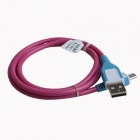 WX12 Micro USB 5-Pin Male to USB 2.0 Male Data Sync / Charging Cable - Pink + Blue (92cm)