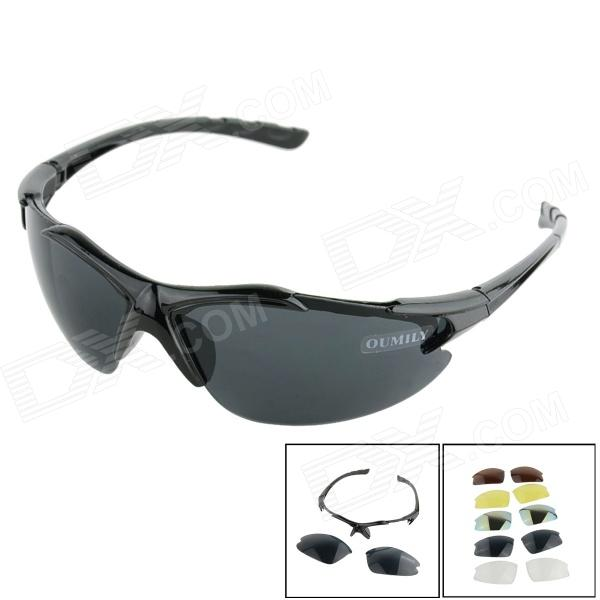 OUMILY Outdoor Cycling Sunglasses Goggles Replaceable lens Kit - Black topeak outdoor sports cycling photochromic sun glasses bicycle sunglasses mtb nxt lenses glasses eyewear goggles 3 colors