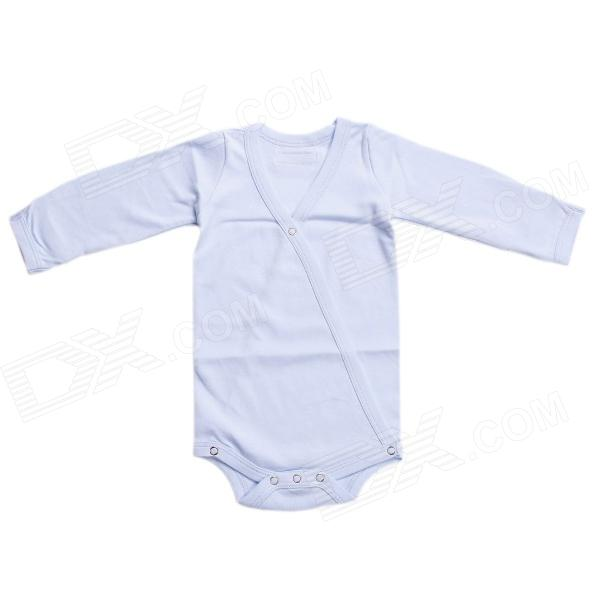 HY130 Organic Cotton Baby's Snap Long Sleeve Infant Romper Cloth - Blue (Size: L)