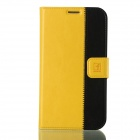 Flower Show Protective PU Leather Case Cover Stand w/ Card Slots for Samsung Galaxy Note 2 - Yellow