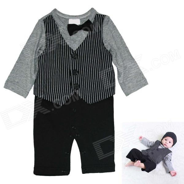 HY2062 Gentleman Vest Cotton Baby's Long Sleeve Infant Romper Cloth - Black + Gray (Size: M)