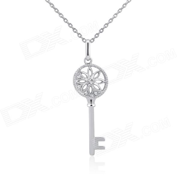 KCCHSTAR 18K Gold Plating Zinc Alloy Lover's Key Necklace w/ Artificial Diamond Pendant - Silver