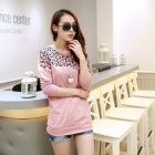 Stylish Leopard Pattern Long-sleeved Round Collar Loose Base Shirt - Pink (L)
