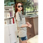 Stylish Leopard Pattern Long-sleeved Round Collar Loose Base Shirt - Grey (M)