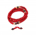 European and American Fashion Glass Bead Bracelet - White + Red + Multicolored
