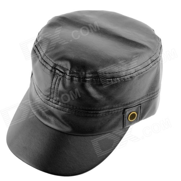 YUSHAN Fashionable PU Leather Flat-Top Hat - Black