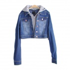 Fashionable Joker Hooded Hoodies Coat - Blue (M)
