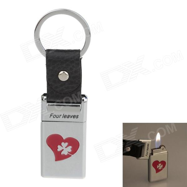 6530 Four Leaves Zinc Alloy Butane Lighter w/ Keyring - Silver