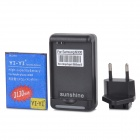 "YI-YI  ""3130mAh"" Li-ion Battery + USB Charger + EU Plug Adapter for Samsung Galaxy S3 i9300 - Black"