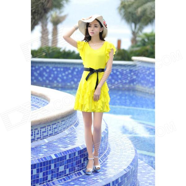 YLY-FLB2077-2029 Stylish Lotus Leaf Sleeve Drape Lower Hem Chiffon Dress - Yellow (L)
