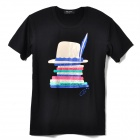 Men's Stylish Hat Pattern Cotton T-shirt - Black + White (L)