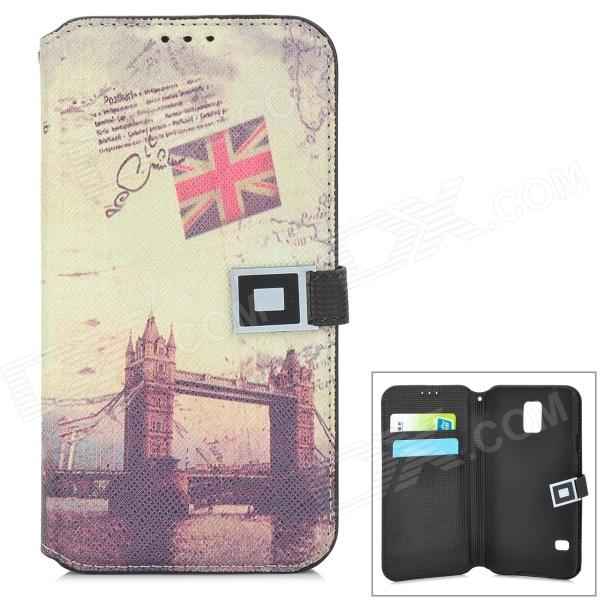 London Bridge Pattern Protective PU Leather Flip-Open Case for Samsung Galaxy S5 - Beige + Black alligator pattern protective flip open pu leather case for samsung galaxy note 3 n9000 white