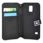 London Bridge Pattern Protective PU Leather Flip-Open Case for Samsung Galaxy S5 - Beige + Black