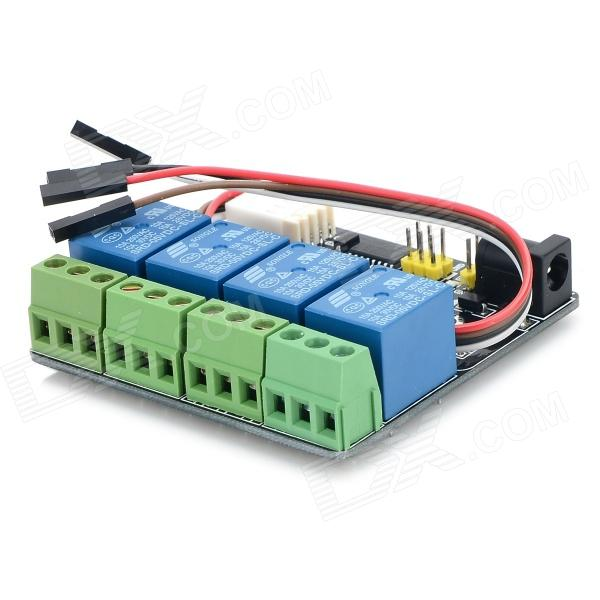 030908 Serial Port TTL 4-CH Relay Controler Module w/ Protective IC - Black + Blue + Green adjustable extendable folding clutch brake levers for triumph speed four 03 04 2003 2004 tt 600 00 01 02 tiger 885 99 00 05 06
