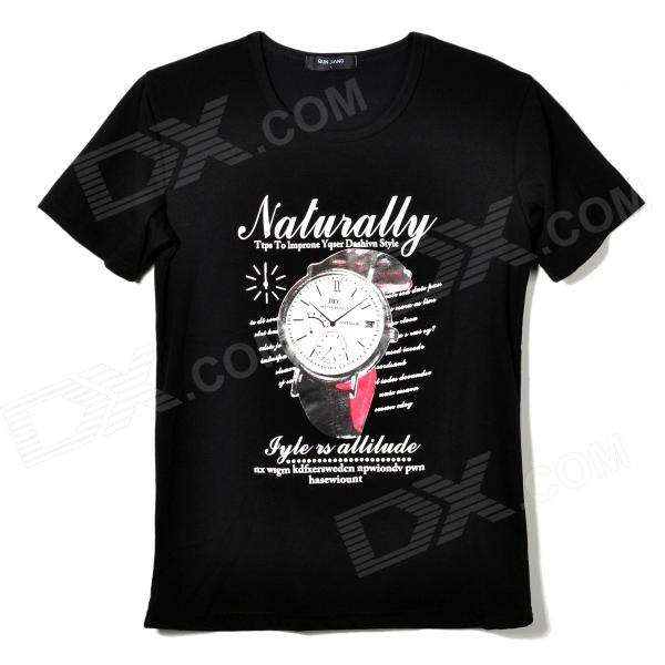 1813 Men's Stylish Comfortable Patterned Cotton T-shirt - White + Black (L)