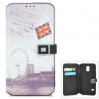 London Eye Pattern Protective PU Leather Flip-Open Case for Samsung Galaxy S5 - White + Grey