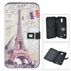 Eiffel Tower Pattern Protective Flip Open PU Case w/ Strap / Card Slots for Samsung Galaxy S5