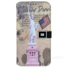 Statue of Liberty Pattern Protective PU Flip Open Case w/ Strap / Card Slots for Samsung Galaxy S5