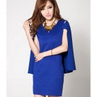 Woman's Stylish Jacquard Weave Cape Dress - Blue (L)