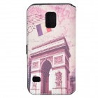 Arch of Triumph Pattern Protective PU Flip Open Case w/ Strap / Card Slots for Samsung Galaxy S5