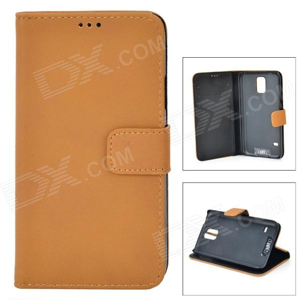 IKKI Protective PU Leather Flip-open Case w/ Stand / Card Slot for Samsung Galaxy S5 - Light Brown 360 rotary flip open pu case w stand for 10 5 samsung galaxy tab s t805 white