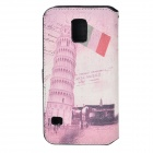 Leaning Tower of Pisa Pattern Flip Open PU Case w/ Strap / Card Slots for Samsung Galaxy S5