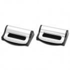 020 Universal Plastic Car Safety Belt Clips - Black + Silver (2 PCS)