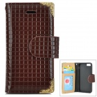 HHCA-136 Protective PU + TPU Case w/ Card Slot for IPHONE 5 / 5S - Coffee