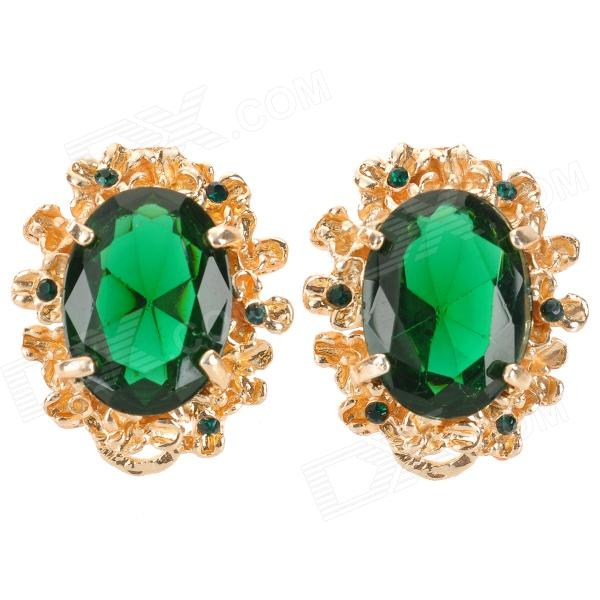 SHIYING E0114 Stylish Retro Elegant Rhinestone Studded Earring - Golden + Green (2 PCS) цепочка