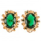 SHIYING E0114 Stylish Retro Elegant Rhinestone Studded Earring - Golden + Green (2 PCS)