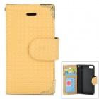 HHCA-136 Protective PU + TPU Flip-Open Case w/ Card Slot for IPHONE 5 / 5S - Yellow