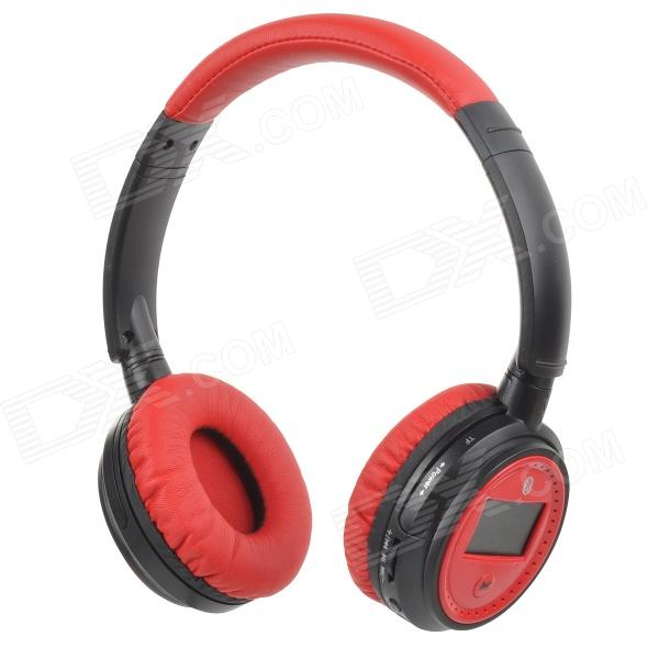 XF-228 1.3 LCD Bluetooth V2.1 Stereo Headphones MP3 Player w/ TF / FM / Mic - Crimson (Max. 16GB) hl good quality original wireless headset bluetooth headphone headband headset with fm tf led indicators for iphone cell phone