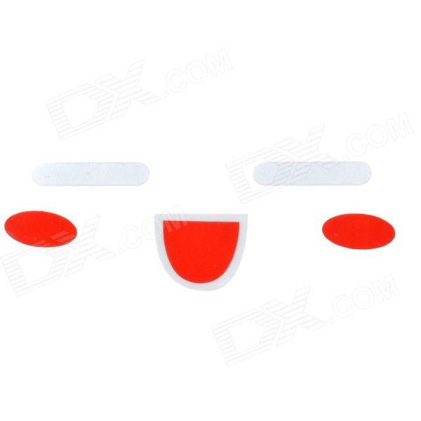 06 Smiely Style Reflective Car Rearview Mirror Sticker - Silver + Red