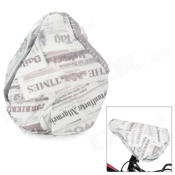 17671 Retro Newspaper Print 190D Nylon Cover for Bike Saddle - White + Light Gray