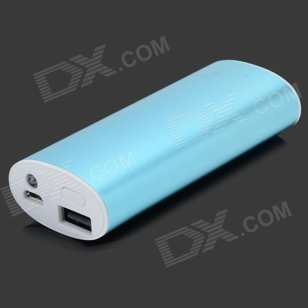 A56 Universal USB 5V 4200mAh Rechargeable Power Bank w/ LED Torch - Light Blue + White 5200mah mini rechargeable mobile power bank for cellphone tablet pc more blue white