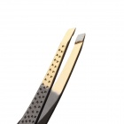 G300022 8000 Stainless Steel Eyebrow Tweezers - Black + Golden
