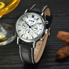 MCE 01-0060269 Men's Auto Mechanical Analog Wristwatch w/ Calendar - Silver + Blue + White