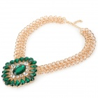 Shiying A05415 Stylish Retro Shiny Crystal-studded Oval Pendant Necklace - Green + Golden