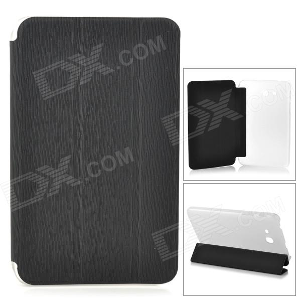 Protective 3-fold Flip Open PU + PC Case for Samsung T110 - Black + Transparent