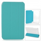 Protective 3-fold Flip Open PU + PC Case for Samsung T110 - Light Blue + Transparent