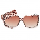 A44-931 Woman's Stylish Leopard Pattern Bowknot Decorated UV400 Sunglasses - Tawny