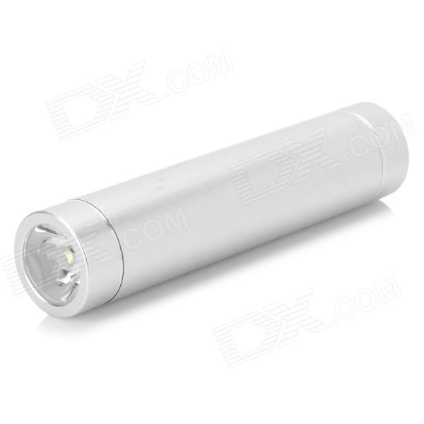 Compact 2200mAh Power Bank Tube w/ 3-Mode LED Torch - Silvery White