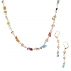 HH006 Fashionable Jewelry Crystal Zinc Alloy Necklace + Earrings - Multicolored