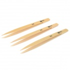 S42 Environmentally Friendly Bamboo Tweezers - Yellow (3 PCS)