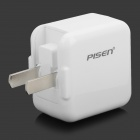 PISEN TS-UC038 Universal Compact 2000mA USB Output Flipping US Plug Power Adapter - White