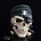 Skull Pirate Style Resin Cigarette Ashtray - White + Green