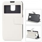 S5-W Protective PU Leather + Plastic Flip-Open Case w/ Window / Stand for Samsung Galaxy S5 - White